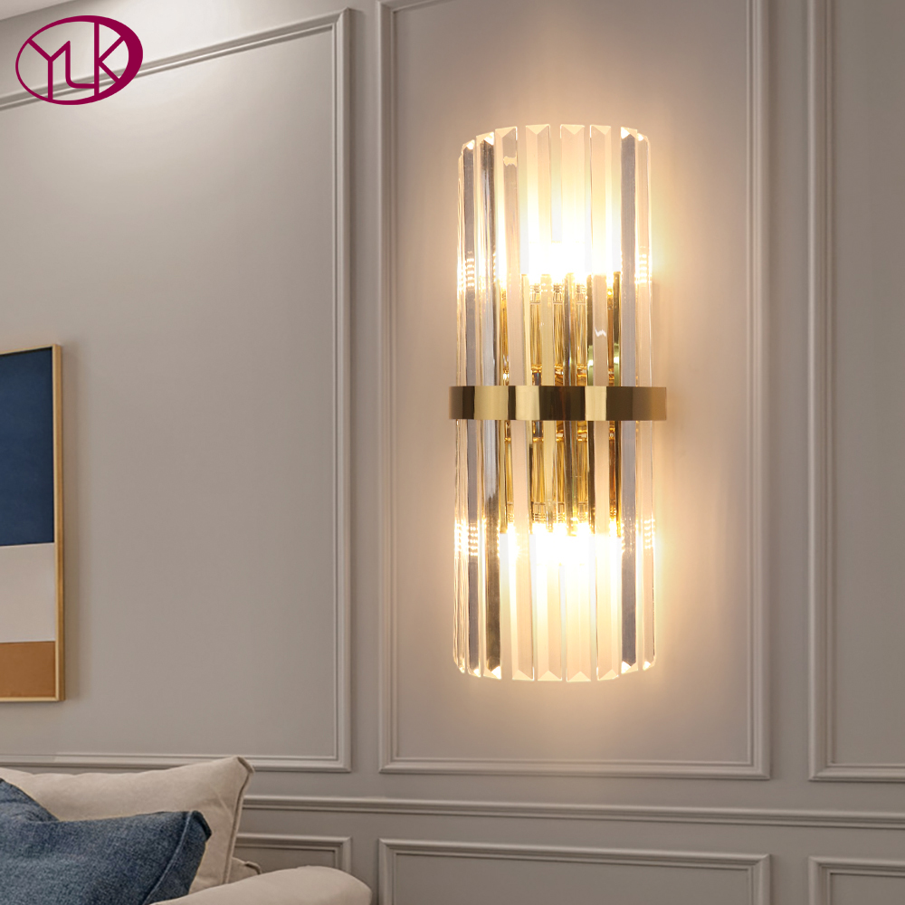 modern led crystal wall light gold home decor wall lighting fixture bedroom hallway wall sconce lamp fast shipping via dhl fedex
