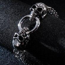 Bracelet gothique à Double crâne pour hommes, en acier inoxydable 316L, à breloque lourde et brillante, chaîne à maillons, bijoux masculins, nouveau