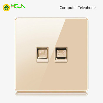 High-grade 1 2 3 4 gang 1 2 way big panel Golden switch socket Type 86 Wall 2.5D Cambered Mirror Toughened glass Computer TV 20