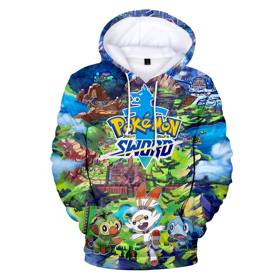 2019 Pokemon Sword And Shield 3D Hooded Sweatshirt Men/Women/kids Grookey Scorbunny Sobble Harajuku Hoodie Japan Cosplay Costume