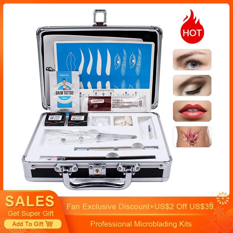 Biomaser 1 Set Practical Pigments 3D Microblading Kits Eyebrow Tattoo Makeup Pen Needle Paste Skin Ruler For Beginners Body Art