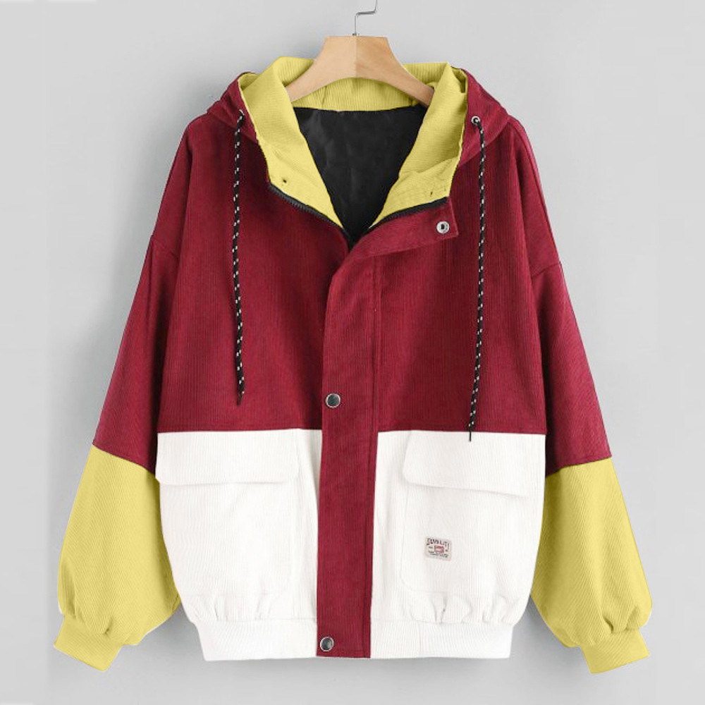 Women color block Long Sleeve Corduroy Women jackets Patchwork Autumn women Jackets plus size women button female coat FC