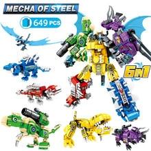 6in1 Transformation Dinosaur Robot Building Block City Jurassic Worlds Pterosaur Mech Blocks Bricks DIY Toys For Boys