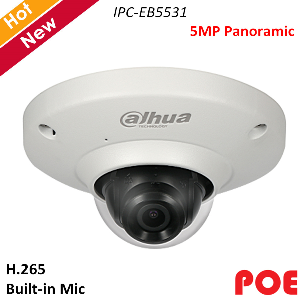 English Dahua 5MP Panoramic IP Camera Fisheye camera IPC-EB5531 with Poe Waterproof H.265 Support sd card 128G Built in MiC