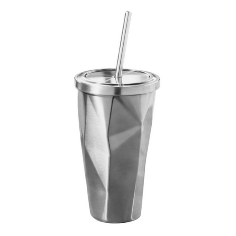 Colorful Stainless Steel Drinking Cup with Lid and Straw Tumbler Hot Cold Double Wall Vacuum Insulation Coffee Mug Water Flask - 4