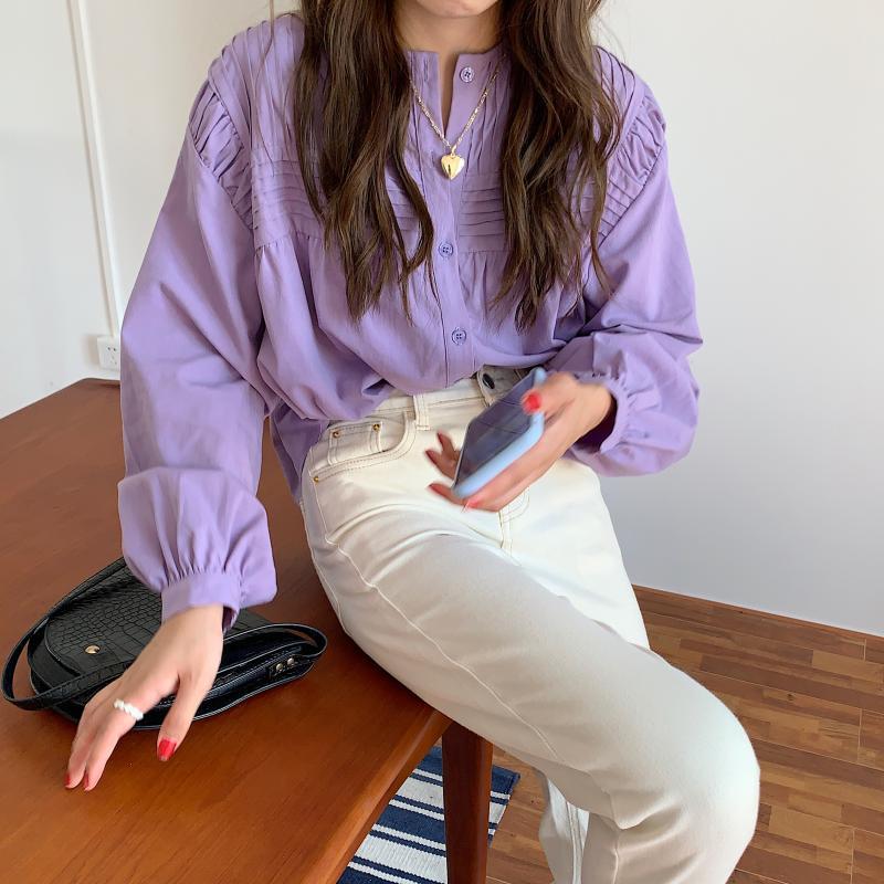 Ha1cc48fbc8c944aba7a2aa62982629edy - Spring / Autumn Korean O-Neck Long Sleeves Pleated Solid Buttons Blouse