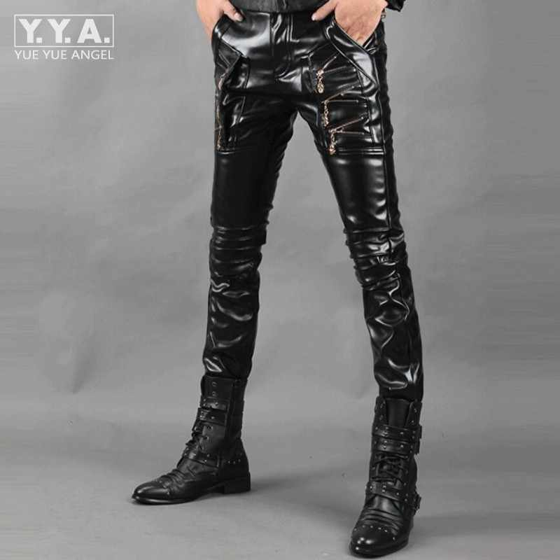 Hip Hop ใหม่ผู้ชายกางเกงหนังรถจักรยานยนต์ SLIM FIT กางเกงสำหรับชายปลอมซิปออกแบบกางเกง PU กางเกงหนัง pantalon Homme