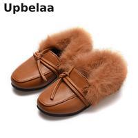 Yeni Çocuklar Kış Loafer'lar Kızlar Sıcak rahat ayakkabılar Bebek bebek ayakkabısı Slip on Flats Çocuk Ayakkabıları Yumuşak Saç deri ayakkabı Moda|Botlar|   -