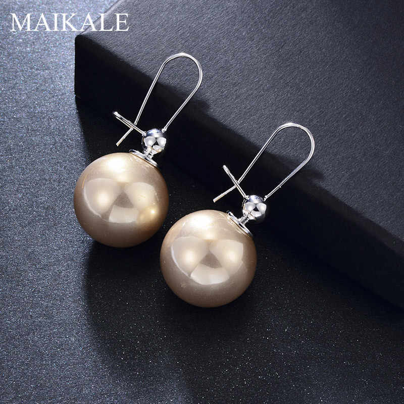 MAIKALE New Fashion Big Dangle Earring Pearl Round Copper 585 Gold Silver High Quality Korean Drop Earrings For Women Jewelry