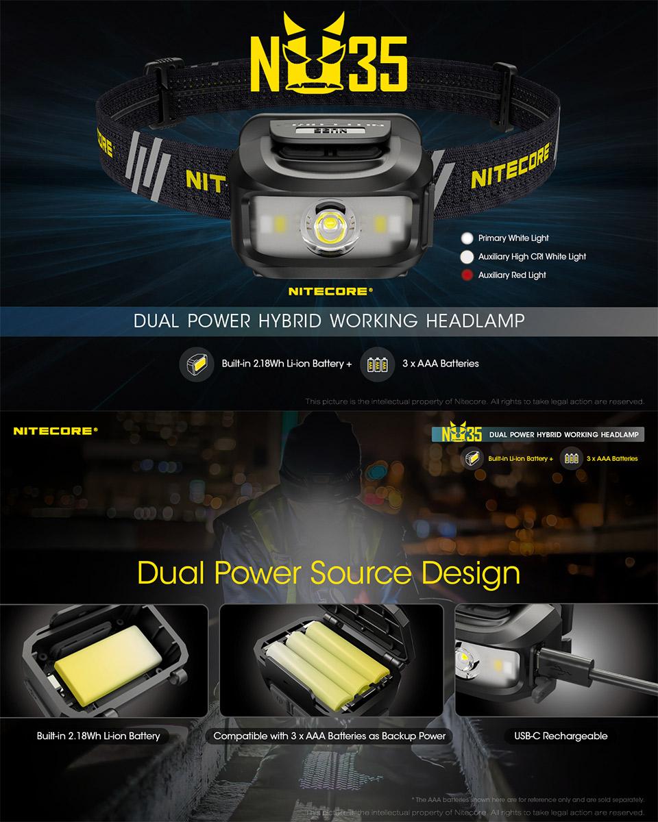 NITECORE NU35 LED Rechargeable Headlamp, headlight, lampu kepala, lampu suluh, head band