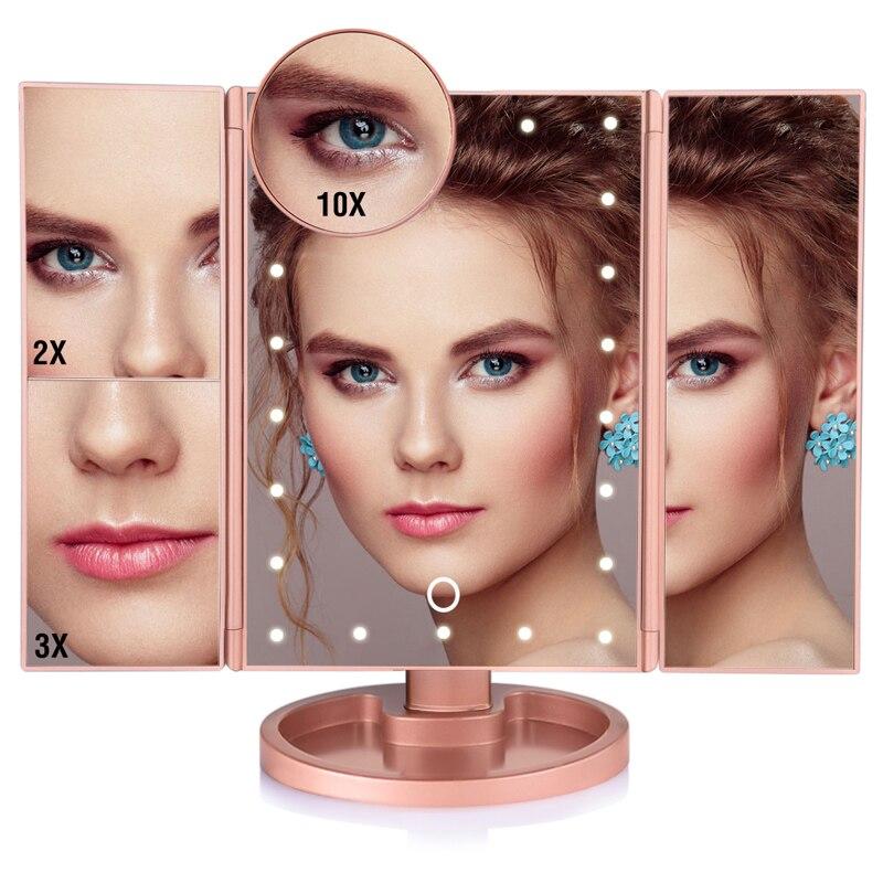 LED Touch Screen 22 Light Makeup Mirror Table Desktop 1X/2X/3X/10X Magnifying Vanity 3 Folding Adjustable 7
