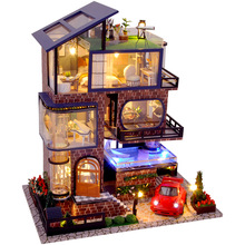 DIY Wooden Dollhouse Manhattan Villa Kit Assembled Miniature Car Swimming Pool Doll House Toy for Children Adult Christmas Gifts
