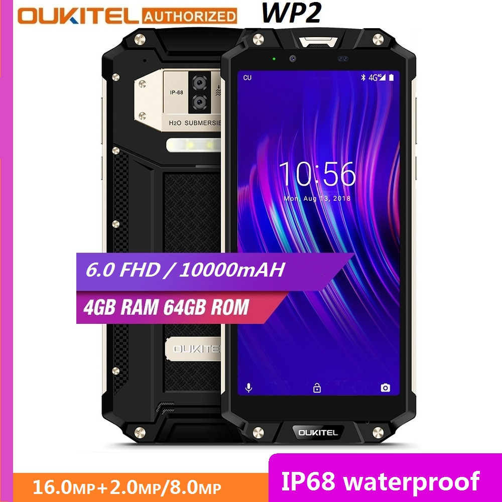 OUKITEL WP2 IP68 Waterproof Dust Shock Proof Mobile Phone 4GB 64GB MT6750T Octa Core 6.0 18:9 10000mAh Fingerprint Smartphone image