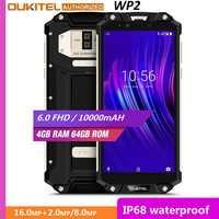 "OUKITEL WP2 IP68 wodoodporna odporna na wstrząsy telefon komórkowy 4GB 64GB MT6750T octa core 6.0 ""18:9 10000mAh odcisk palca Smartphone"