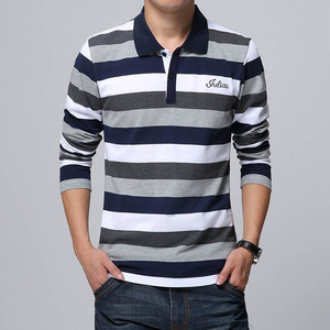 Image 2 - TFETTERS jesień męska koszulka w paski wzór nadruk liter z długim rękawem T shirt skręcić w dół kołnierz koszula T shirt duży rozmiar M   5XL