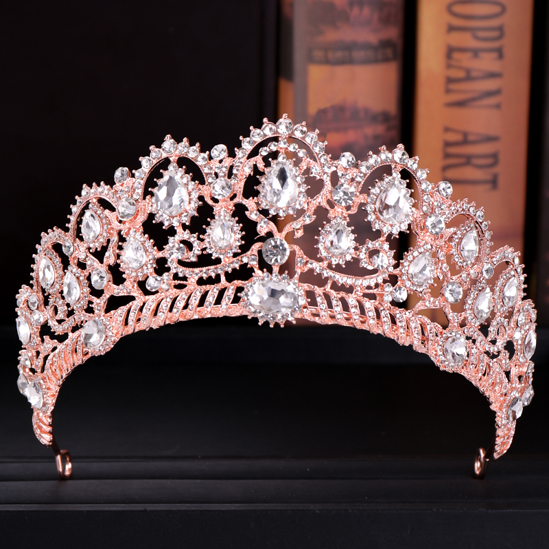 Rose Gold Wedding Crown Quinceanera Pageant Princess Rhinestone Crystal Bridal Crowns Tiaras for Women Wedding Hair Accessories