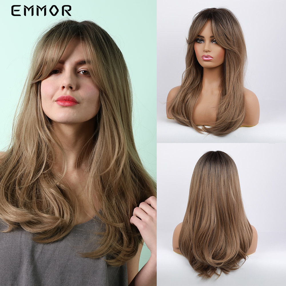 EMMOR Long Natural Wave Black to Light Brown Ombre Hair Wig with Bangs for Black White Women Daily Use fluffy Synthetic Wigs
