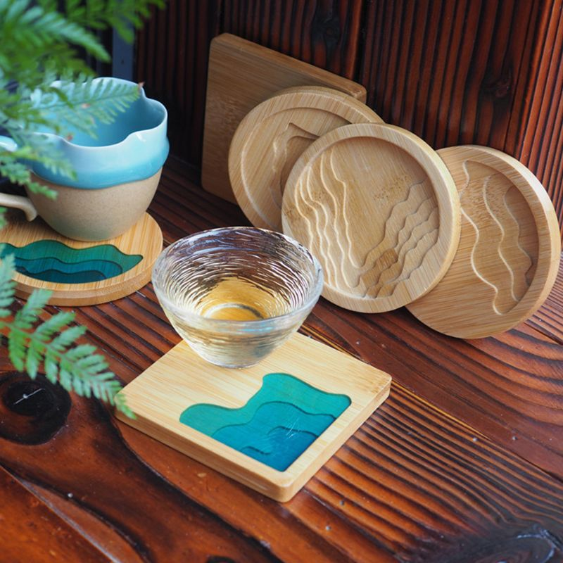 UV Resin AB Glue Wood Tray Wooden Cup Pad DIY Epoxy Coaster Crafts Making Accessories