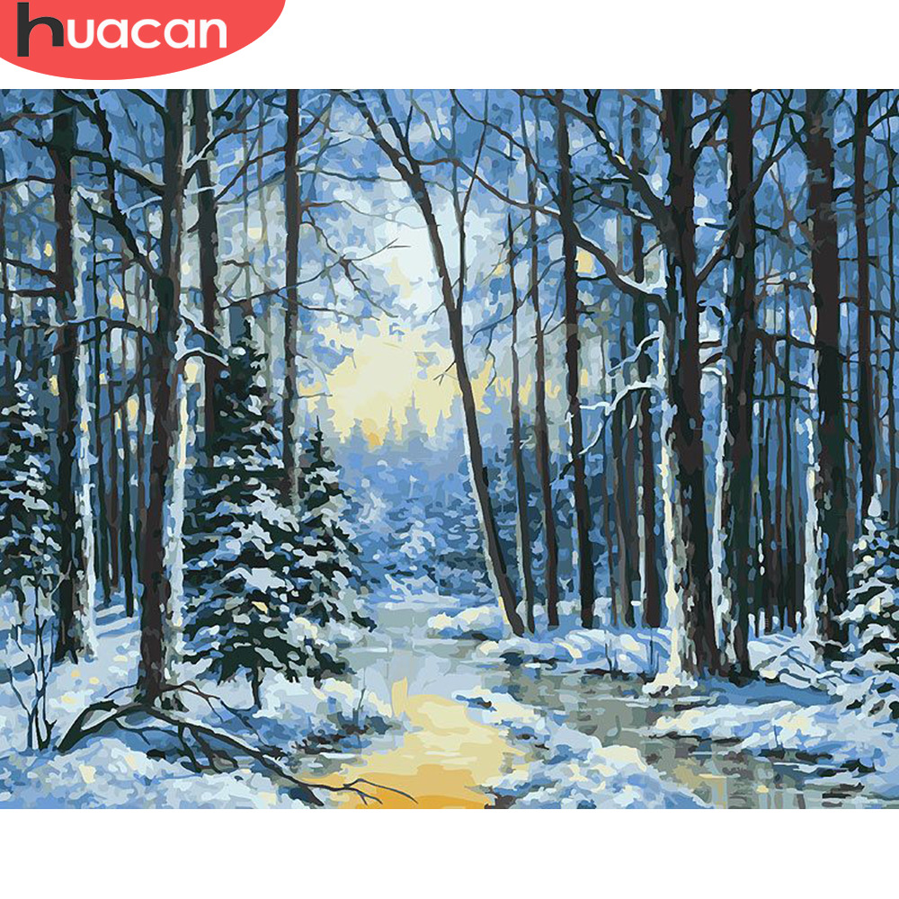 HUACAN Painting By Number Winter Landscape HandPainted Kits Drawing Canvas DIY Oil Pictures Snow Tree Scenery Home Decor Gift