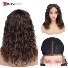 Wigs Hair Lace-Part Curly Brown Preplucked Women Brazilian Wignee for Black Mixed Remy