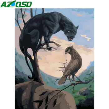 Painting By Numbers Kit Natures Face Optical Illusion Woman Panther Bird