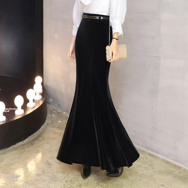 Image 2 - Осенне зимняя черная длинная юбка женская винтажная бархатная  длинная юбка Русалка с бесплатным поясом плюс размер Элегантная  велюровая юбка 2295LYЮбки