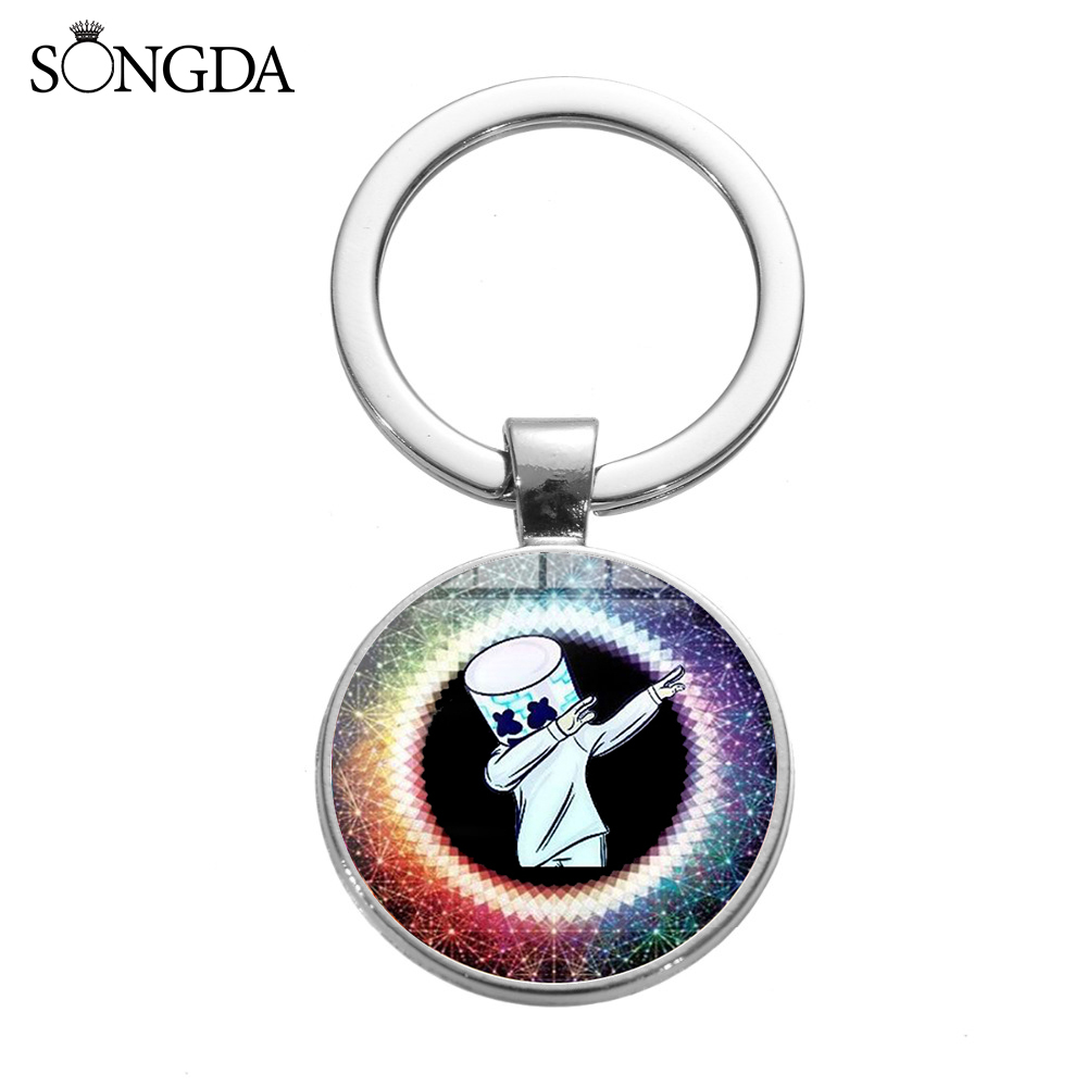 SONGDA Hip Hop Popular Music DJ Marshmallow Keychain Cool Cartoon Logo Trendy Printed Glass Gem Key Chain Ring Holder Party Gift image