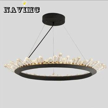 Moderne Kristallen LED Zwarte hanglamp Slaapkamer Eetkamer Lamp Verlichting Armatuur AC 110 V-240 V