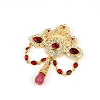 Sunspicems Fashion Bohemia Crown Brooch for Women Gold Color Full Crystal Moroccan Wedding Jewelry African Bridal Bijoux Gift