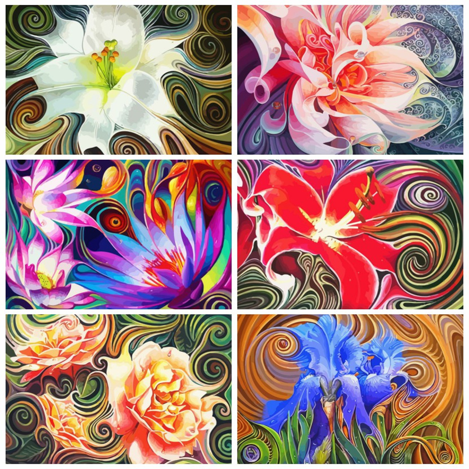 AZQSD Adult Paint By Numbers Floral DIY Unframe Home Decoration Acrylic Paint Oil Painting By Numbers Abstract Art Unique Gift