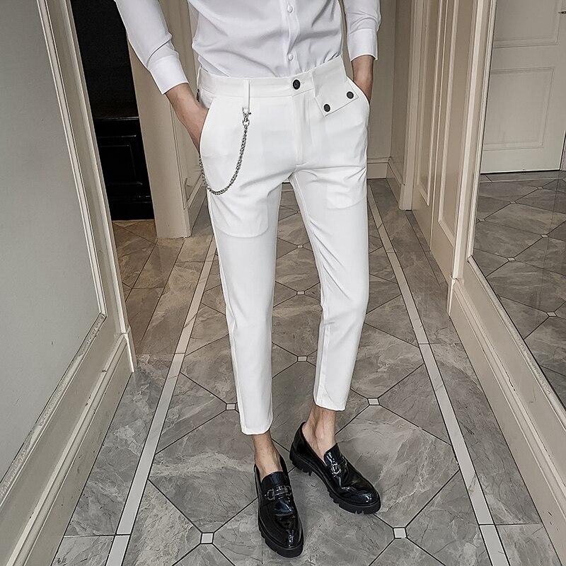 2020 New Business Men Pants Dress Fashion All Match White Office Trousers Men Slim Fit Streetwear Ankle Length Formal Pants Male