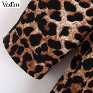 Image 5 - Vadim נשים שיק אדום הדפס מנומר midi שמלת בעלי החיים דפוס ארוך שרוול בציר נשי מזדמן אמצע עגל שמלות vestidos QC730