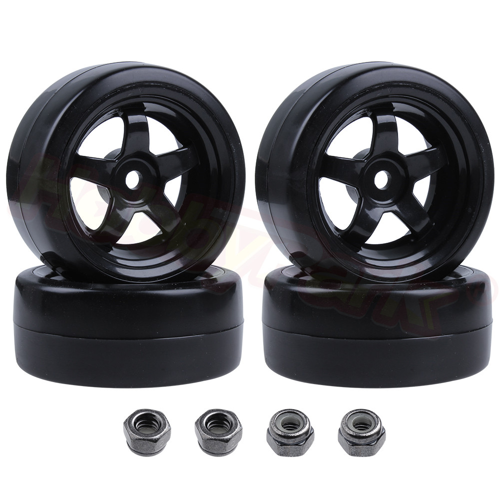 4PCS Plastic Smooth RC 1/10 Drift Tires & Wheel Rims 12mm Hub Hex Tyre with Lock Nut M4 for Tamiya Sakura HPI HSP Redcat RC Car