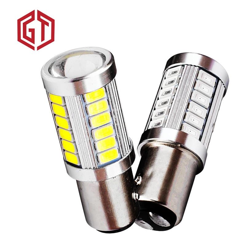 GUANGJI 2PCS 1157 BAY15D P21/5W 33 SMD 5630 5730 LED Car Brake Lights Tail Lamps Turn Signal 33SMD Auto Rear Reverse Bulbs