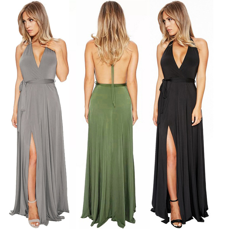 European And American-Style Sexy Dress Solid Color V-neck Backless Dungaree Dress New Style Banquet Evening Dress