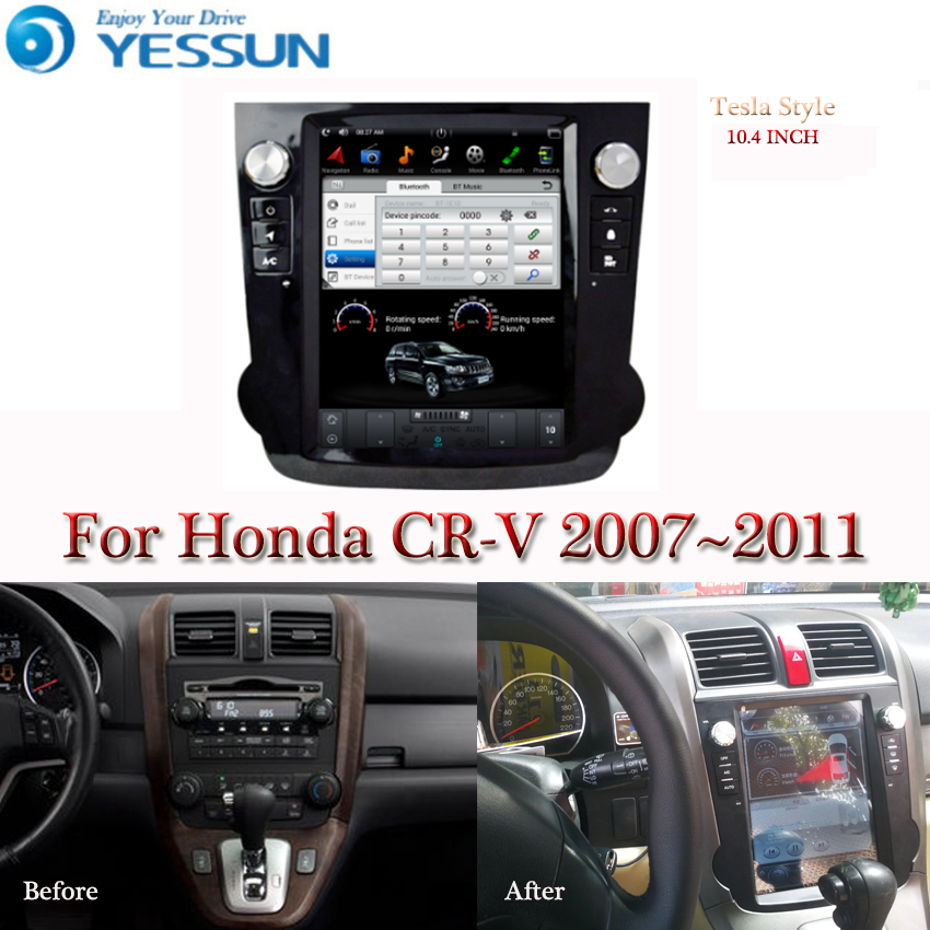 Tesla Screen For Honda CR-V CRV 2007 2008 2009 2010 2011 Car Android Multimedia Player 10.4 Inch Car Radio Stereo Audio GPS