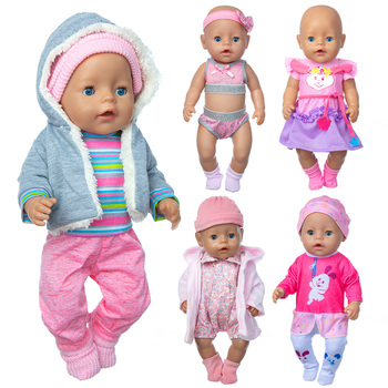 2020 Fit 18 inch Born New Baby Doll Clothes Accessories 43cm 4-piece Suit Rabbit Hair Band For Baby Festival Gift