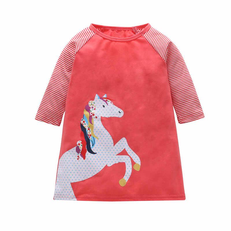1-7 anos Meninas Stripe Vestidos Crianças Manga Comprida Roupa Vestido 2019 Baby Girl Princesa Vestido de Algodão do Outono do Verão roupa dos miúdos