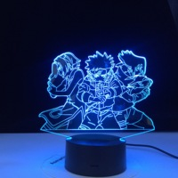 Naruto equipo 3d luz de noche Uzumaki Naruto Sasuke Sakura figura hogar Decoración LED lámpara de noche Anime regalo para niños