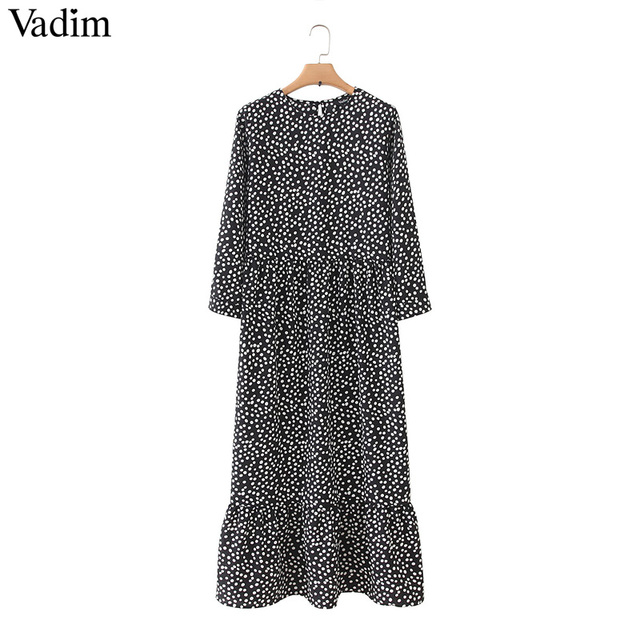 Vadim women dots print maxi dress pleated three quarter sleeve female casual straight dresses chic ankle length vestidos QB260 2