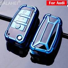 Tpu caso chave do carro escudo para audi a3 a4 a4l b5 b6 b7 b8 b9 a5 a6 c5 c6 q3 titular do carro escudo capa remota carro-estilo chaveiro