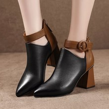 цены New Autumn Early Winter Shoes Women Boots Fashion Ladies High Heels Boots Pointed toe Woman Party Shoes Women Ankle Boots A1892