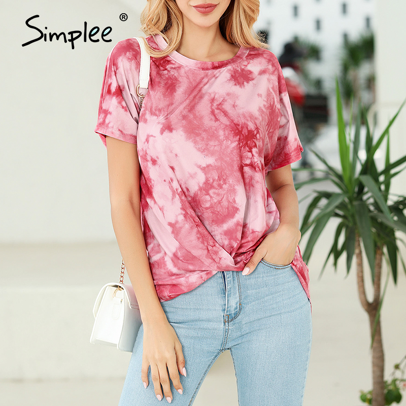 Simplee Sexy Women T Shirt Tops Spring Summer Female Casual Top Shirts Elegant Party Club Ladies Highstreet Tie-dye T-shirt