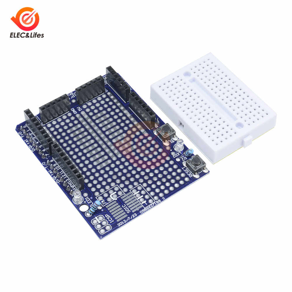 Proto Shield Prototipe Papan Ekspansi SYB-170 Mini Solderless Mini Papan Tempat Memotong Roti untuk Arduino Uno R3 MEGA328P ATMEGA328P Protoshiel