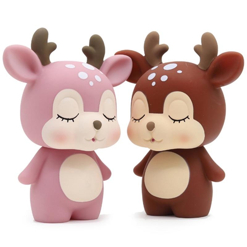Hucha de ciervo con dibujos animados, hucha, Adorable, regalo, ahorro, Rosa