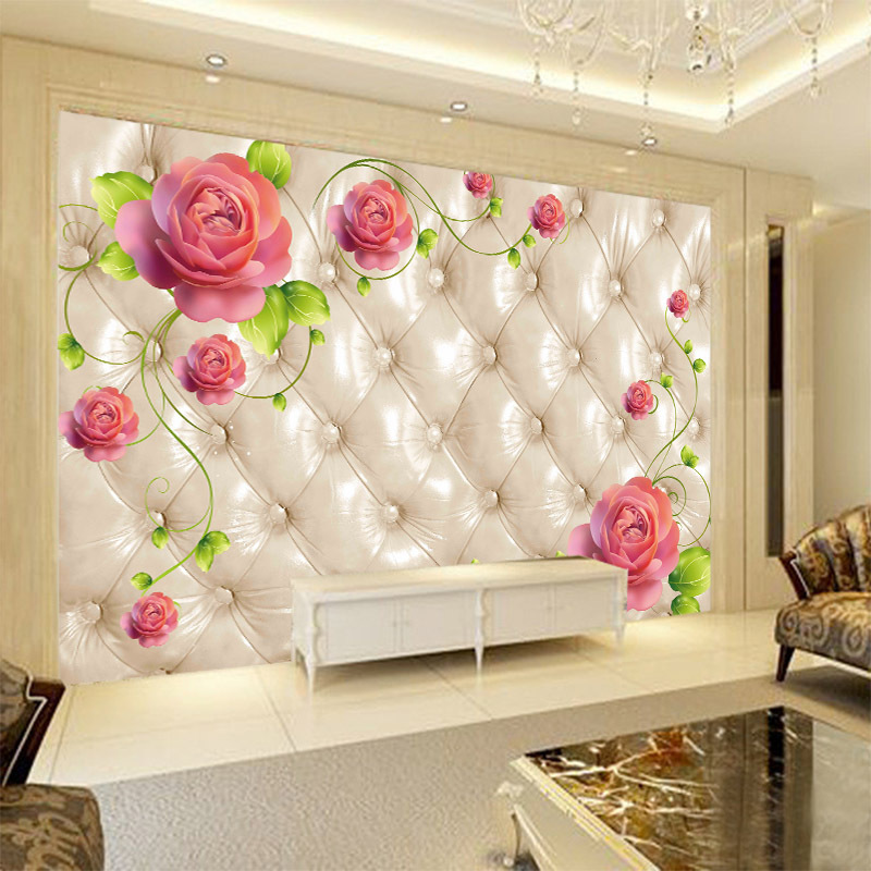 Customizable Seamless Large Mural European Style Fashion Rose Soft Bag 3D Film And Television Bedside Sofa TV Background