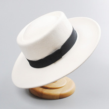 Fall Winter Wool Fedora Hat White Church Hats Women Men Felt Panama Po