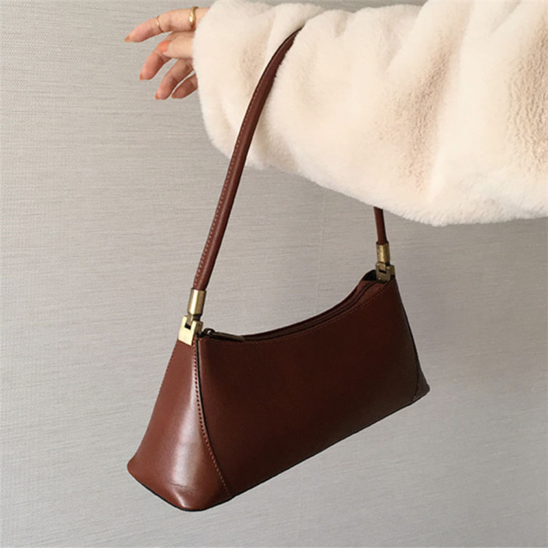 Ins Fashion Half Month Handbag Retro Pu Women Baguette Bags Handbags For Women Casual Travel Wrist Bags Ladies Pu Totes Clutch in Shoulder Bags from Luggage Bags