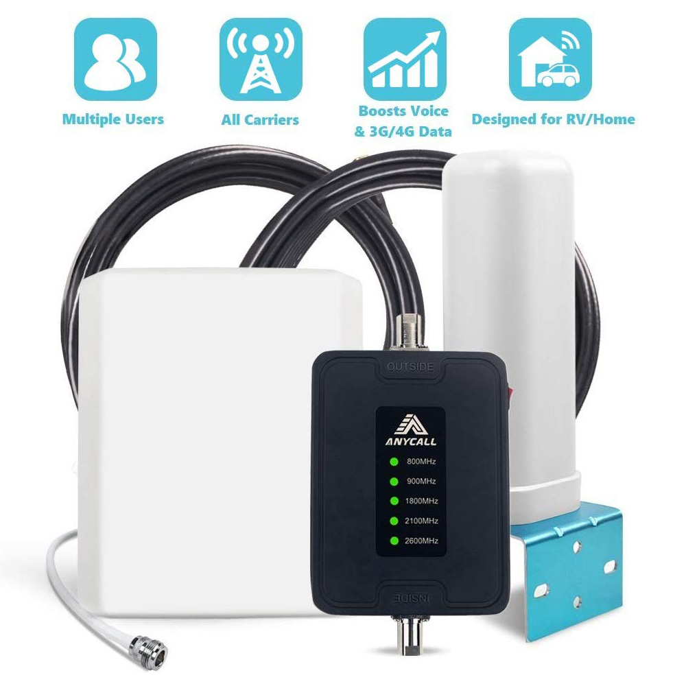 Mobile Amplifier 2G/3G/4G 5-Band Mobile Signal Repeater 800/900/1800/2100/2600MHz Improve Network And Call For Truck/Car/RV/Boat