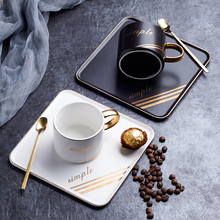Nordic Ceramic Coffee Cup Set Letter Luxury Coffee Cup with Spoon Square Plate for Family Cafe Dessert Shop